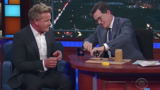 Stephen Colbert Dared To Display His PB&J Sandwich Making Skills In Front Of Gordon Ramsay