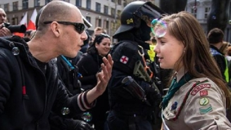 People Love This Photo Of A Fearless Czech Girl Scout Standing Up To A Neo-Nazi