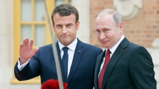 New French President Emmanuel Macron Told Vladimir Putin To His Face That Russian State Media Is Fake News