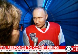 Vladimir Putin Claims Comey's Firing Won't Affect US-Russia Relations While Decked Out In Hockey Gear