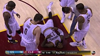 LeBron Somehow Stayed In The Game After This Punishing Collision With Tristan Thompson