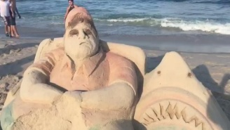 A Pair Of Unsung Heroes Trolled Chris Christie's Beach Trip With A Sand Sculpture On The Jersey Shore