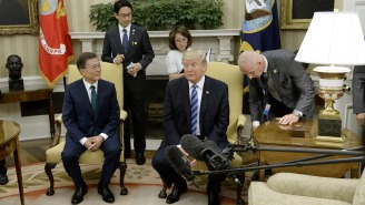 Trump Scolds Reporters For Bumping A Lamp At His Meeting With South Korea's President: 'You Guys Are Getting Worse'