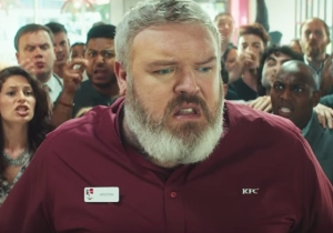 'Game Of Thrones' Hodor Actor Kristian Nairn Has A 'Hold The Door' Moment While Serving Up Some KFC