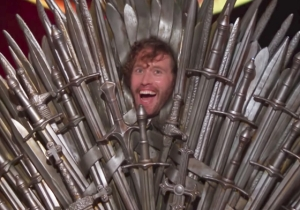 A Sweaty TJ Miller Cosplays As The 'Game Of Thrones' Iron Throne Much To Conan's Delight