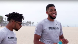 Watch Karl Anthony-Towns And D'Angelo Russell Give Beach Volleyball Their Best Shot