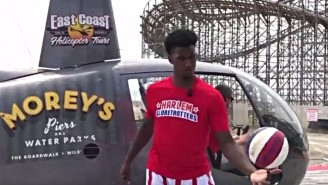 A Harlem Globetrotter Knocked Down A Shot Flying 210 Feet High In A Helicopter