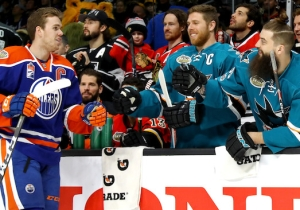 NHL MVP Connor McDavid Played Hockey-Style Carnival Games With A Sharks Star