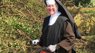 People Are Loving This Nun With A Chainsaw Helping To Clean Up After Hurricane Irma