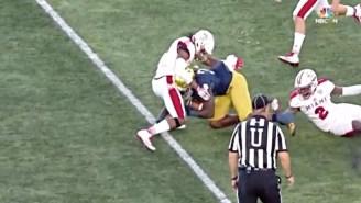 A Scary Helmet-To-Helmet Hit Sent Pieces Of Notre Dame Running Back Tony Jones' Helmet Flying
