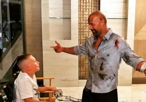 The Rock Took The Time To Hug A Heroic Kid While On The Set Of 'Skyscraper'