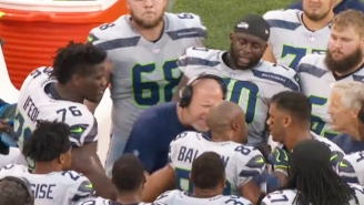 Doug Baldwin And Seahawks Offensive Line Coach Tom Cable Got Into A Scuffle On The Sideline