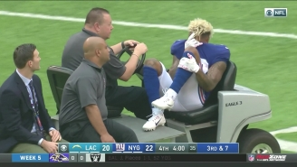 Odell Beckham Jr. Was Carted Off With An Apparent Left Ankle Injury