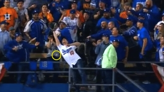 A Dodgers Fan With A Glove Couldn't Catch A Home Run That Drilled Another Fan In The Stomach