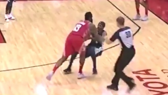 James Harden And Mario Chalmers Got Into It After A Hard Screen, A Trip, And A Shove