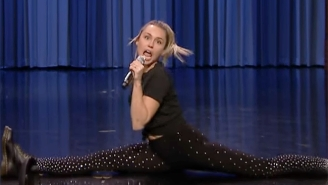 Miley Cyrus And Jimmy Fallon Emulate A Few Rock Idols In A Very Physical Lip Sync Battle On 'The Tonight Show'