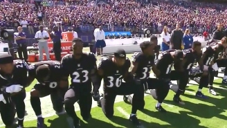 Baltimore Fans Loudly Booed When The Ravens Took A Knee Prior To The National Anthem