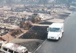Unsettling Drone Footage Shows A USPS Truck Continuing To Deliver Mail In Fire-Wrecked Santa Rosa