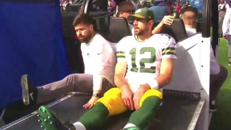 Aaron Rodgers Was Carted To The Locker Room After Suffering A Right Shoulder Injury (UPDATE)