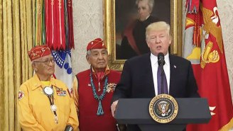 Watch Trump Make A 'Pocahontas' Joke About Elizabeth Warren While Honoring Native American Code Talkers
