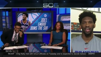 Joel Embiid Made An Incredible Jalen Rose-Kobe Bryant Joke On ESPN's SportsCenter