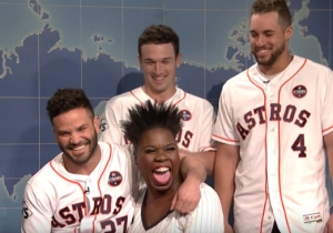 The Houston Astros Visited 'SNL' And Became Friends With New Baseball Fan Leslie Jones