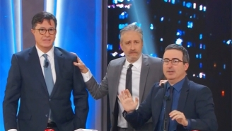 Stephen Colbert And John Oliver Try To Compete With Jon Stewart To Kick Off A Very Hectic 'Night Of Too Many Stars'