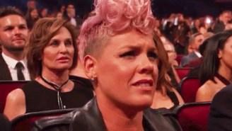 P!nk's Reaction To Christina Aguilera's AMA Tribute To Whitney Houston Has Fans Making Jokes