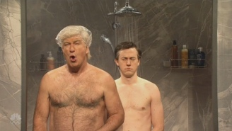 Alec Baldwin's Donald Trump Makes A Stop At Paul Manafort's Home For An Indictment Shower Party