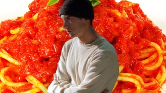 Eminem Is Rolling With The Memes And Serving Mom's Spaghetti At His Detroit 'Revival' Pop-Up