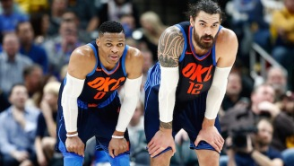 Russell Westbrook Tried To RKO Steven Adams During His Postgame Interview