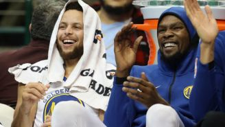 Usher Sat Courtside During Warriors-Rockets And Got Ran Over By Steph Curry