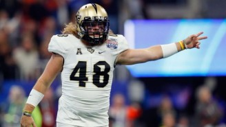 UCF's Punter Stone Colded Two Water Bottles After Winning The Peach Bowl