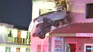 A Speeding Car Went Airborne And Crashed Into The Second Floor Of A California Building