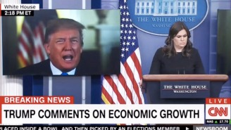 Trump Appeared In A Bizarre Video Message Before Sarah Huckabee Sanders' Press Briefing