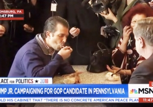 Watch Don Jr. Aggressively Eat Ice Cream While Fending Off Questions About Stormy Daniels And Russia