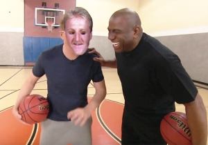 Conan Tries To Channel Larry Bird For Some Help Defeating Magic Johnson In A Game Of Horse
