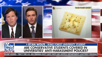 Tucker Carlson Talks To A 'Brave' College Student Who Had His Face Photoshopped Onto A Cracker