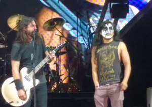 Foo Fighters Brought A Face-Painted Fan Onstage And He Totally Shredded On 'Monkey Wrench'