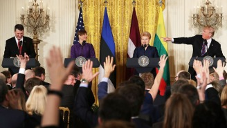 Trump Instructs Latvia's President To Call On 'Real News, Not Fake News' In A Joint Press Conference