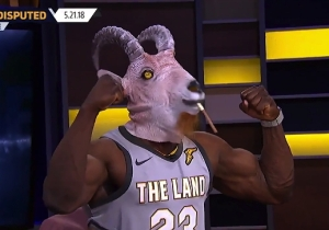 Shannon Sharpe Wore A Goat Mask And A LeBron Jersey To Celebrate 'GOAT James'