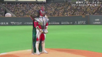 Jushin Thunder Liger Threw The First Pitch At A Baseball Game And Violence Ensued