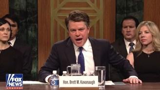 Matt Damon's Shout-y, Beer-Loving Brett Kavanaugh Helped 'SNL' Hilariously Kick Off Its New Season