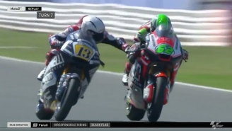 A Motorcycle Racer Was Banned For Hitting An Opponent's Brakes At High Speed