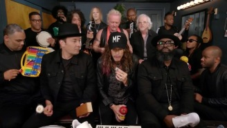 Watch Aerosmith Rope The Roots Into A 'Walk This Way' Rendition With Kid Instruments For Jimmy Fallon