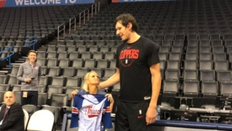 Please Enjoy These Pictures Of Boban Marjanovic Standing Next To Kristin Chenoweth