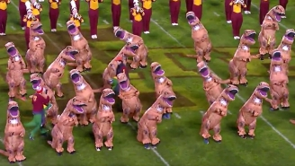 Iowa State's Band Did A 'Jurassic Park' Halftime Show Complete With Dozens Of Inflatable Raptors