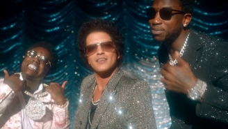 Gucci Mane, Kodak Black, And Bruno Mars Hit The Bandstand In Their Flashy 'Wake Up In The Sky' Video