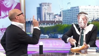 Piers Morgan Got Smacked In The Face With A Pie For Shaming Fathers Who Wear Baby Carriers