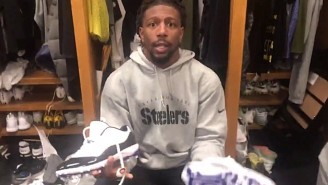 Watch As Steelers Players Plundered Le'Veon Bell's Locker For Shoes And Gear Now That His Season Is Over